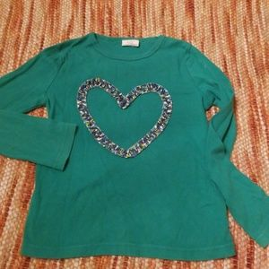 Girls 7 8 mini boden heart shirt